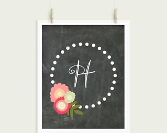Letter H Chalkboard Polka Dot Floral Frame Curly Font Initial Monogram Instant Art