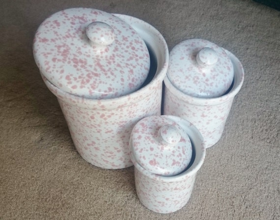 Mid year sale ceramic storage canisters pink white speckled - Pink tea and coffee canisters ...