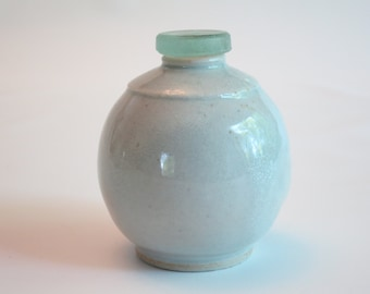 White pottery bottle - ceramic - vintage bottle stopper - small