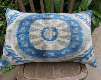 Double Side Pillow, Silk Velvet Ikat Pillow Cover, Back Side Silk Ikat Fabric with zip  60 x 40 cm - 24' x 16' FREE SHIPPING