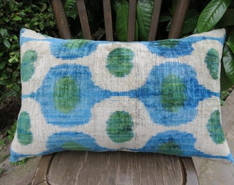 Double Side Pillow, Silk Velvet Ikat Pillow Cover, Back Side Silk Ikat Fabric with zip .60 x 40 cm - 24' x 16' FREE SHIPPING