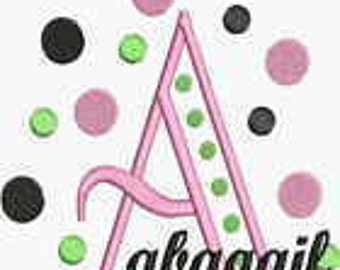 Instant Download Embroidery Machine Designs Fonts Alphabet Polka Dots PES Format