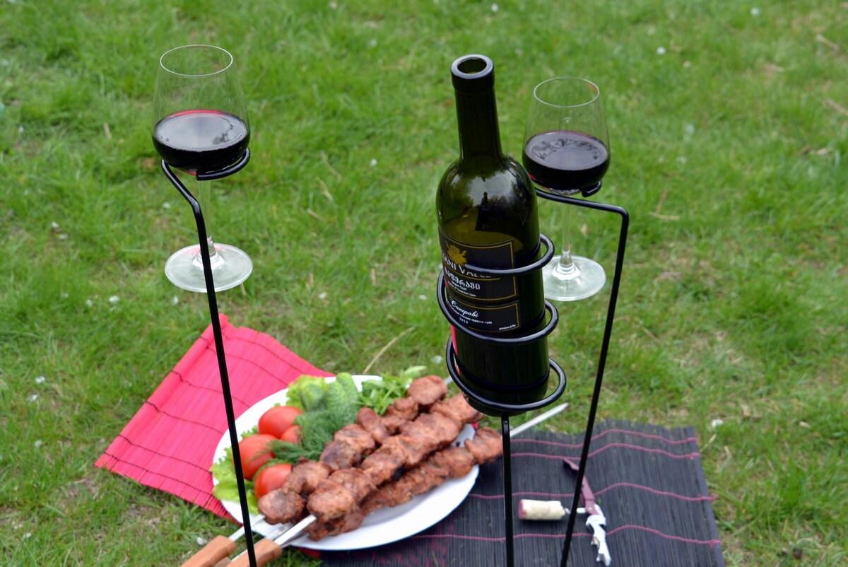 Metal Wine Glass Holder: Outdoor Metal Wine Rack Wine Glass Holder 2 Outdoor