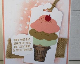 Handmade Greeting Card - Melon Ice Cream Cone - Crisp Cantaloupe