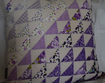 REDUCED.   Handmade Patchwork quilted Cushion cover. Various shades of lavender and Purple.
