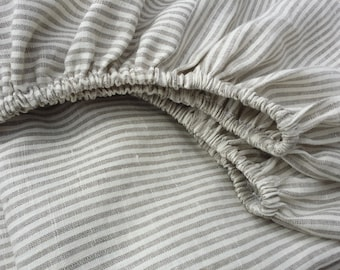 Fitted sheet from natural linen /// Crib bedding, Nursery bedding, Cot bedding