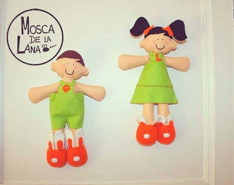 Felt doll, boy and girl dolls colored felt
