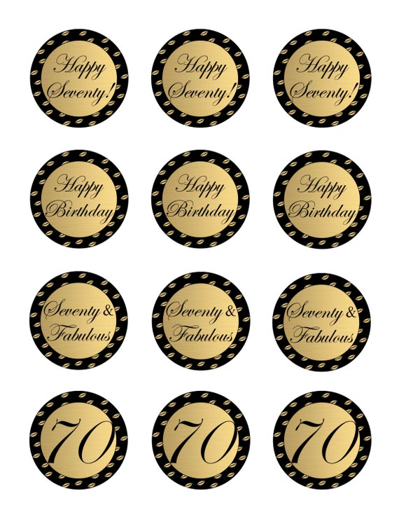 Instant Download 70th Birthday Cupcake Toppers 70th And