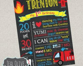 Firetruck Chalkboard Birthday Sign - Fireman First Birthday chalkboard - Birthday Sign - Firetruck, Fireman, Fire - Digital File