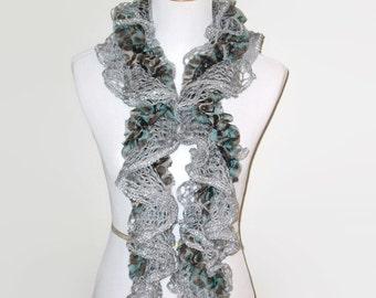 Ruffle Scarf, Gray/Silver/Aqua, Womens Hand Knit Scarf, Cascading Ruffle Scarf
