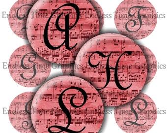 Music Bottle Cap Images ~*Digital*~ Red Sheet Music- Full Alphabet ~*Resin Pendant Jewelry*~ 1 Inch Printable Circles 263