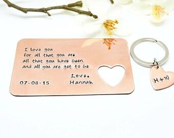 Personalized Gift- Mens Gift- Wallet Insert Card & Key Chain Set - Christmas Gift - Anniversary Gift - Boyfriend Christmas Gift- Husband