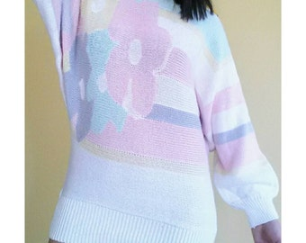 Vintage 80's Floral Pastel Sweater - Small Batwing Pastel Sweater - Vintage Floral Pullover