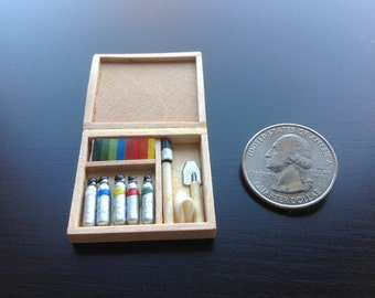 Dollhouse Miniature 3cm Water Painting Art Kit Wood Case w/ Tools Decor