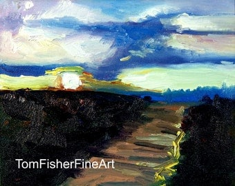 Abstract Morning Light Sunrise Landscape Original Oil Painti ng Abstract Landscape
