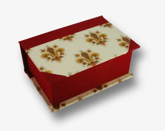 Handmade business cards box in red book cloth and decorative paper (lilies)