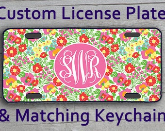Custom Monogrammed personalized license plate. Garden By The Sea Lily Inspired Customized Vanity Car Tag, Frame + Matching Key Chain. #3035