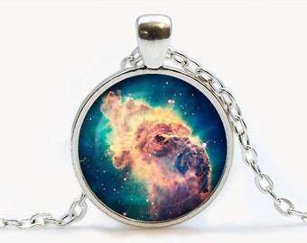The Carina Nebula Glass pendant. Galaxy necklace. Space, universe jewelry, birthday gift