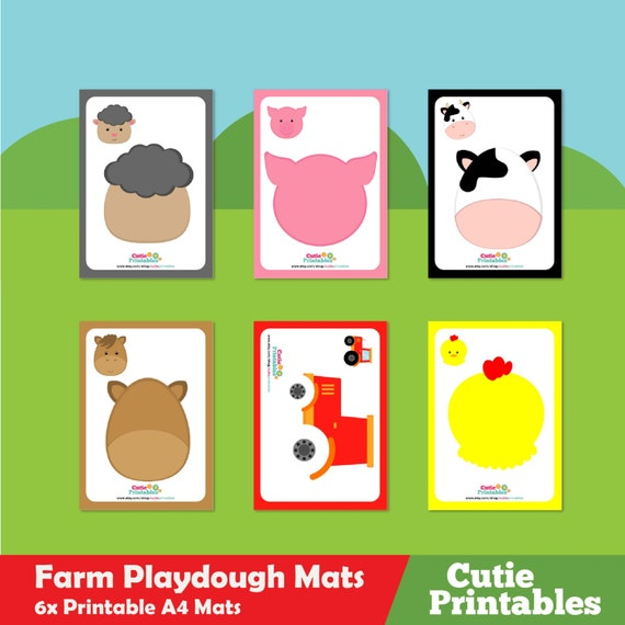 Farm Animal Playdough Mats From Mylearningprintables On