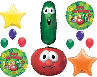 VEGGIE TALES 12 Pc Birthday Party Balloons Decorations Supplies Larry Bob