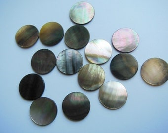 50PCS 15MM Flat Round Natural Black Lip Shell Beads Shell Discs