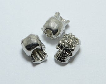10pcs Skull Beads with Crystals in Silver Tone, Halloween Skull, Gothic Skull, Top Drilled Metal Beads #SD-S7640