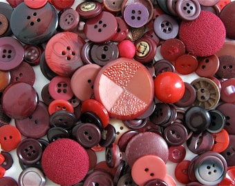 50 Red Vintage Buttons