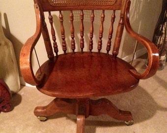 Antique Cane Swivel Desk Chair Very Unique
