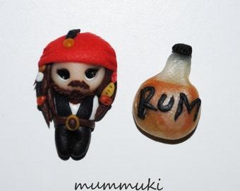 Polymer clay stud earrings - Jack Sparrow