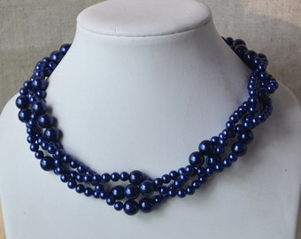 navy blue pearl necklace,3-rows pearl necklaces,wedding necklace,bridesmaids necklace,glass pearl necklaces, pearl necklace,necklace,wedding