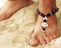 Mens Beach Sandals Barefoot Sandals Hippie Shoes Seashell Jewelry Guys Footwear Hemp Sandals Handmade Sandals Men Toe Thong Beach Clothes