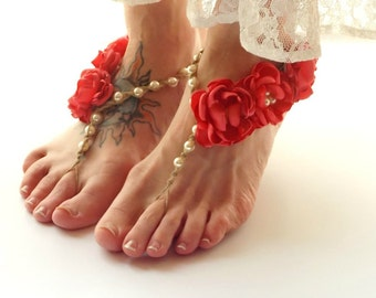 Coral Wedding Sandals, Barefoot Sandals, Beach Bride Sandals, Bridesmaid Sandals, Custom Colors, Beach Wedding Shoes, Women Foot Jewelry