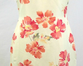 Pale yellow silk sheath sleeveless lined summer dress with red and yellow floral design. By Petite Sophisticate