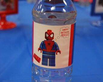 SUPERHERO printable water bottle labels Lego Superhero Birthday Custom Water Bottle Labels