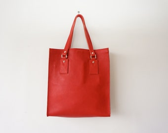 SALE! / Leather Tote / Women Shoulder Bag / Red Heavy Leather Bag / Black Leather Lining