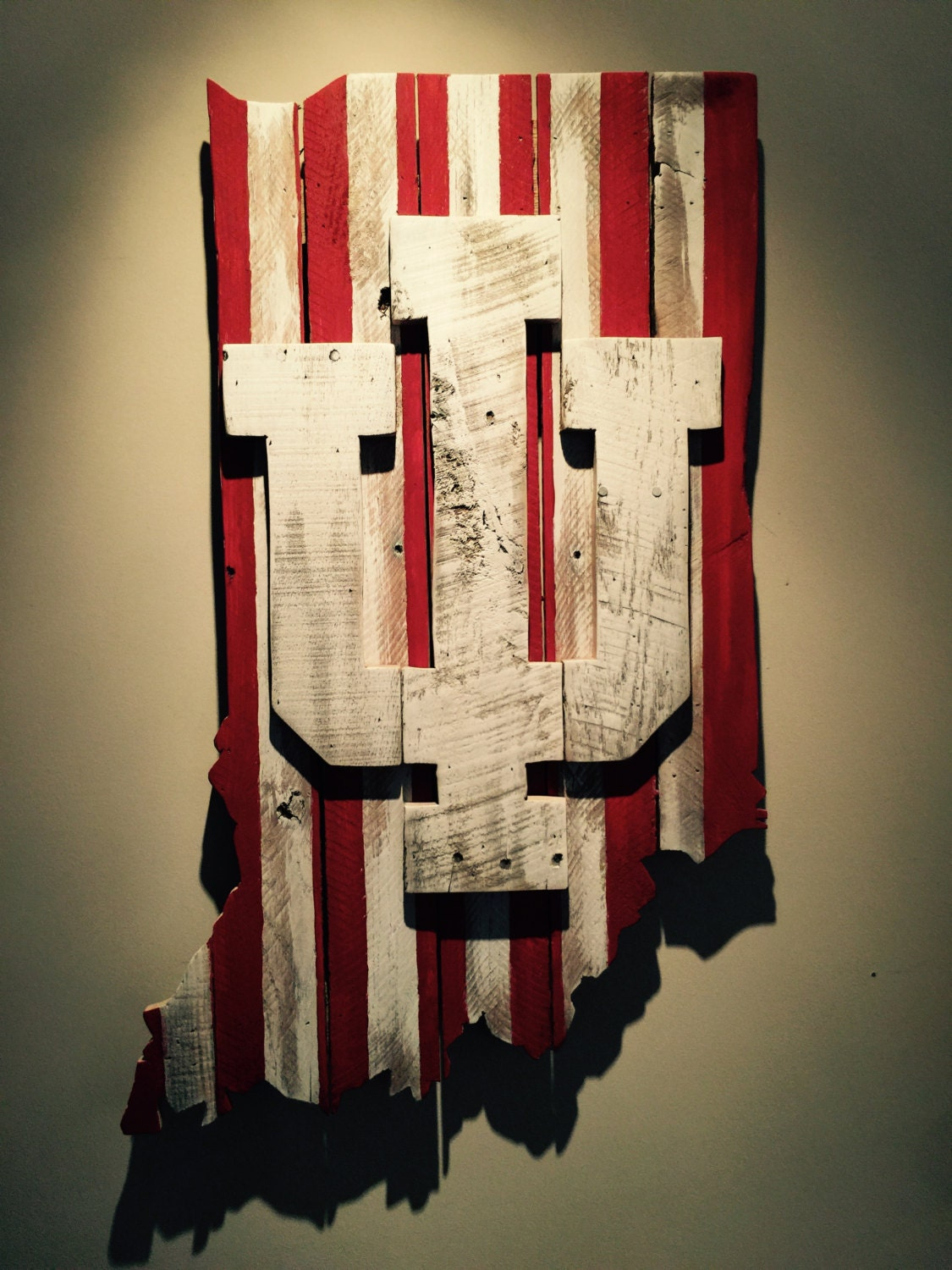 Wooden State Of Indiana With Iu Logo