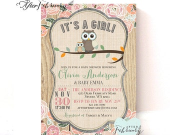 Owl Baby Shower Invitation // Girl Baby Shower Cottage Chic Floral // Custom Font Color // Printable OR Printed No.939BABY