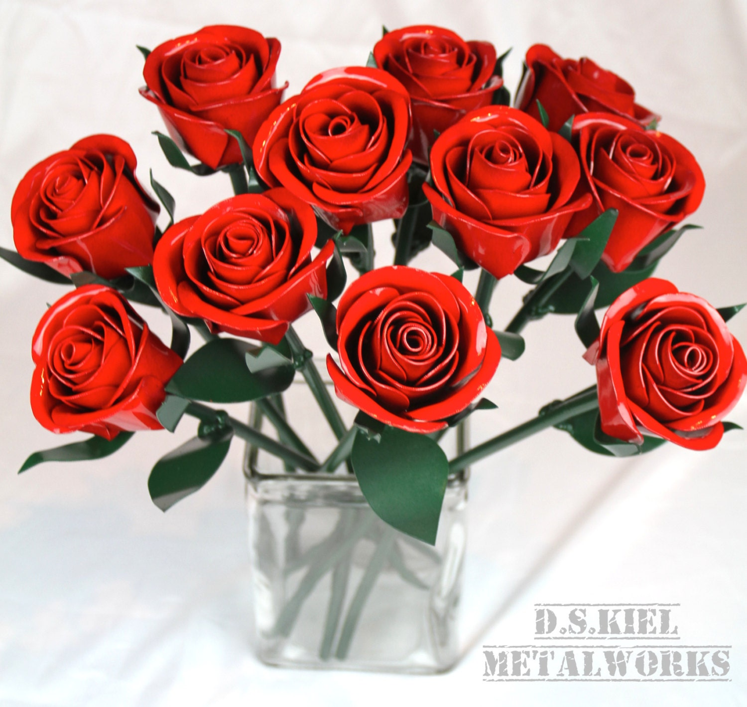 11th Anniversary Gift, 11 Steel Roses, Metal Rose Bouquet