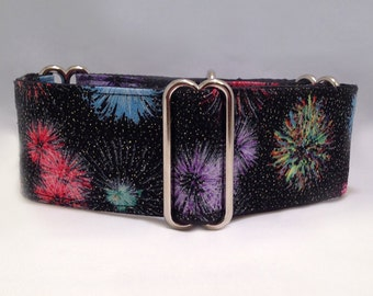 2 inch Martingale Collar, Fireworks Motifs Fourth of July Summer Martingale Collar, Greyhound Martingale Collar, Dog Martingale Collar