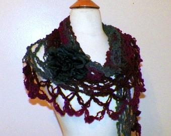 Purple Shawl Triangle Crochet Gray Purple Bridal  Wedding Wrap Scarf Boho Summer Wrap With Brooch