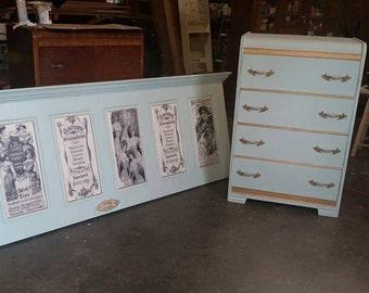 Custom Headboard, Painted Dresser, Waterfall Dresser, Vintage Headboard, Door headboard, Beautiful Headboard, Dressers, Custom Furniture