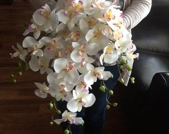BEACH WEDDING BOUQUET -Orchid Bouquet -Wedding Flowers- Fuschia Bouquet -Bridal Bouquet -Cascade Bouquet-Tropical Bouquet