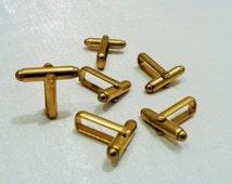 6 Pcs  Raw Brass Mens Cufflink Backs