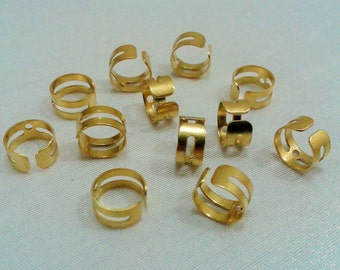 100 Pcs Raw Brass Ear Cuffs 1 Holes - 9.2  mm Diameter