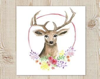 Deer Fawn Floral Laurel Wreath Watercolour Painting Instant Download Printable