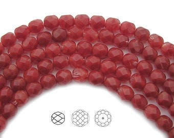 Czech Fire Polished Round Faceted Glass Beads in Crystal Red White Givre 3-tone combination, 6mm, 30 beads, 7 inch strand