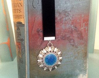 Black Silver and Blue Velvet Ribbon Vintage Victorian Bookmark with Larger Jewel Pendant