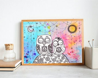 Owls in Love Drawing Large Print, Couple Owls Wall Decor, Owls Poster, Owls Illustration, Nursery Kids Room Wall decor, Bohemian Home decor