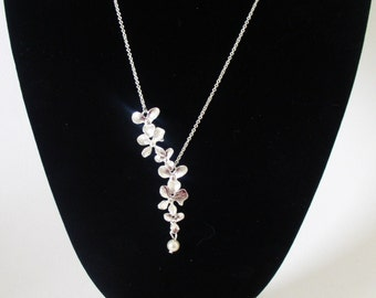 Orchid & Swarovski Necklace with Sterling Silver Chain/Bridal/Bridesmaid/Wedding