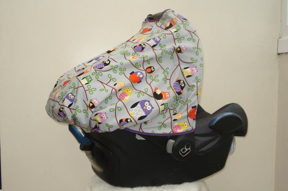grey purple owls baby car seat canopy sunshade by rosapinksweetpea. Black Bedroom Furniture Sets. Home Design Ideas